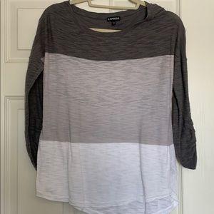 Express gray & white top